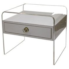 Pair of White Laminate and Lucite Side Tables/Nightstands | From a unique collection of antique and modern side tables at http://www.1stdibs.com/furniture/tables/side-tables/