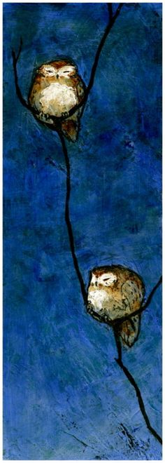 Owls, lovely blue, serene