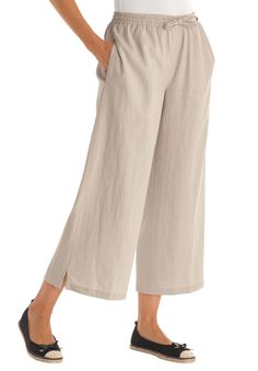 Petite pants, cropped length in cool linen blend | Plus Size Petite Pants | Woman Within