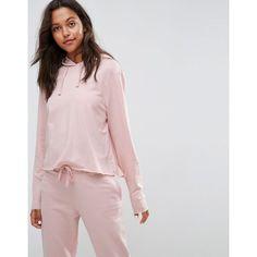 ASOS LOUNGE Raw Edge Hoodie (805 RUB) ❤ liked on Polyvore featuring tops, hoodies, pink, hooded sweatshirt, pink hoodies, asos, hooded pullover and long sleeve tops