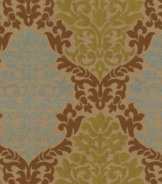 """GREEN RICHLOOM UPHOLSTERY FABRIC 56"""" By The YARD SOFT DAMASK PINK CREAM"""