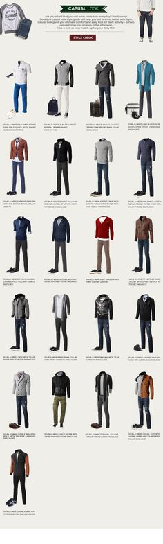 CASUAL LOOK #menstyle #infographic #menswear | Raddest Men's Fashion Looks On The Internet: http://www.raddestlooks.org