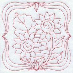 Sunflowers (Redwork)