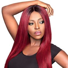 Red Ombre Short Straight Remy Human Hair Wig  Price: 97.79 & FREE Shipping To the Continental USA!    #hot #instagood#trendy #trending #hairislife #hairisbae Remy Human Hair, Human Hair Wigs, Wigs For Sale, Hair Shop, Red Ombre, Wig Hairstyles, Hair Goals, Hair Extensions, Free Hair