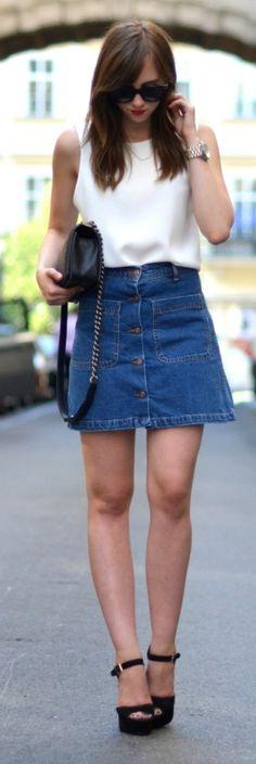 Barbora Ondrackova is working the denim skirt with a white tee and black heels! Top: Choies, Skirt: Zara