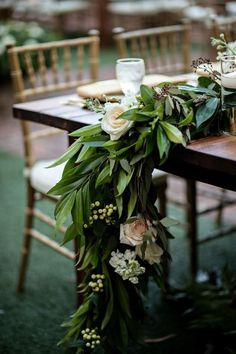 Luxury Garden Wedding in Winter Park, Florida at Casa Feliz Flower garland table runner Party Decoration, Reception Decorations, Wedding Centerpieces, Floral Wedding, Wedding Flowers, Wedding Bouquets, Table Garland, Winter Table, Wedding Table Settings