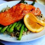 "maple grilled salmon with skinny ""rice"" 