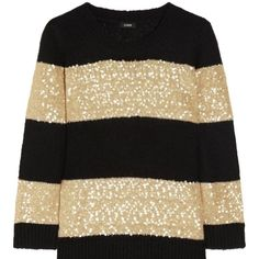 J.crew sweater. J.crew black and cream sequin sweater, new no tags too small for me. J. Crew Sweaters Crew & Scoop Necks