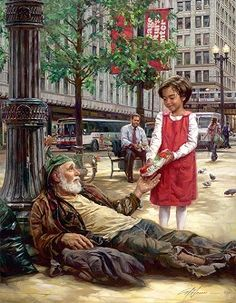 Nathan Greene I Was Hungry #NathanGreene #Children. Christ's timeless message of compassion for those less fortunate than ourselves is vividly demonstrated in the contemporary setting of this recent Nathan Greene painting. Here, amid the hustle and bustle of urban life, a young child hands a weary homeless man a just-purchased Subway sandwich. In the background, her father, seated on a city bench, looks up from his lunch.