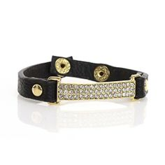 "Rhinestone Panel Bracelet; 7.75""L; Black Strap; Gold Hardware; Clear Rhinestones; Snap Closure; Eileen's Collection. $16.99"
