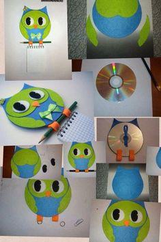 Turn an old cd in a cute owl Cd Crafts, Felt Crafts, Arts And Crafts, Paper Crafts, Recycled Cds, Recycled Crafts, Cd Recycle, Recycling, Diy For Kids