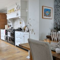 Open-plan kitchen-diner WHITE CANE CHAIRS!!!:)