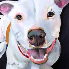 12x12 acrylic representational style commissioned painting of Charlie the Pitbull. Commissions welcome. See www.karrenmgarces.com