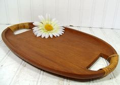 Vintage TeakWood Hostess Tray  Bamboo Wrapped by DivineOrders, $17.00