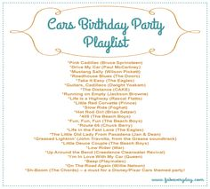 Disney Cars Themed Birthday Party music playlist. See more on www.fabeveryday.com
