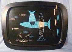 atomic mid century fred press style fish                           tray