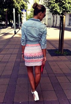 Aztec skirt with denim shirt and high heels.