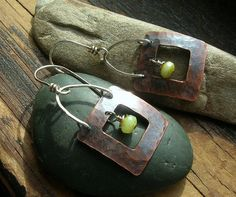 Hammered Copper Window earrings with spring green by kmaylward, $26.00