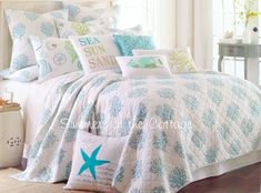 For me or my Momma's house!!! COASTAL LIVING AQUA SEA GLASS BLUE CORAL REEF WHITE BEACH HOUSE CHIC KING BEDDING