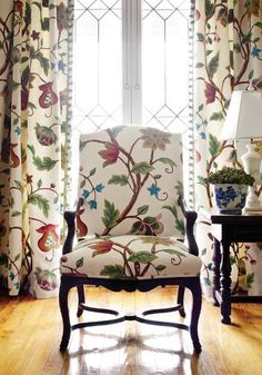 Thibaut/ Baron Crewel from Residence Collection Chair Upholstery, Upholstered Chairs, Muebles Shabby Chic, Muebles Living, Design Apartment, French Chairs, Home Projects, Home Remodeling, House Design