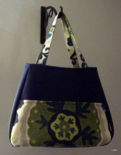 Navy and Green Floral Handbag by designsbyrebekah on Etsy