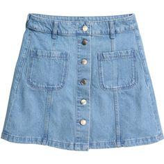 A-linjeskuren kjol 199 ($25) ❤ liked on Polyvore featuring skirts, bottoms, h&m, a line skirt, blue a line skirt, knee length a line skirt, short a line skirt and short skirts