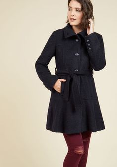 Cozy About Me Coat in Navy - Blue, Solid, Buttons, Pockets, Belted, Work…