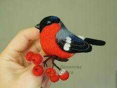 Купить Снегирь на ветке - комбинированный, красный цвет, Рябина, зима, ветка рябины, снегирь, птица