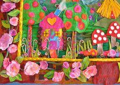 Elizabeth Armstrong, artist in residence, illustrating a fairytale in felt