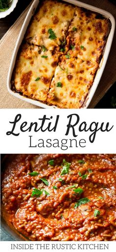 Lentil ragu lasagne recipe, an easy vegetarian ragu using lentils and mushrooms it's packed full of flavour even meat lovers will love this! This is the ultimate vegetarian lasagna recipe. Find more easy and authentic Italian recipe at Inside The Rustic K Vegetarian Lasagna Recipe, Quick Vegetarian Meals, Vegetarian Cooking, Vegan Food, Lasagne Recipes, Lentil Recipes, Veggie Recipes, Cooking Recipes, Sweets