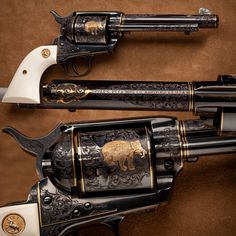 COLT SINGLE ACTION ARMY REVOLVER: Excellent features on this Hartford-made sixgun include factory ivory grip panels and a considerable amount of gold wire inlays over frame and barrel. Even the sides of the front sight are covered with engraving on this revolver.