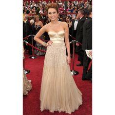 Miley Cyrus Champagne Formal Dress at 2010 Oscar Awards Red Carpet $308.99 Oscar Inspired Dresses