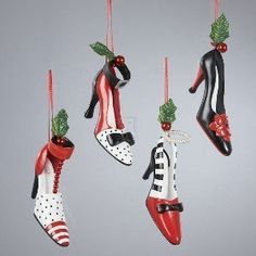 Kurt Adler Polyresin Holiday High Heel Shoe Ornament Set of 4 Christmas Shoes, Office Christmas, High Heels, Shoes Heels, Decorated Shoes, Xmas Ornaments, Red And White, Black, Holiday Decor