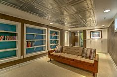 After home staging - Christi Hacker, Realtor, Keller Williams Greater Omaha - About - Google+. Tin ceiling, turquoise, blue, basement