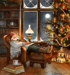 "Trisha Romance Handsigned and Numbered Limited Edition Giclee:""Christmas Nap"" Christmas Scenes, Noel Christmas, Vintage Christmas Cards, Christmas Pictures, Vintage Cards, Winter Christmas, Xmas, Christmas Fireplace, Disney Christmas"
