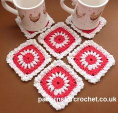 Pretty Square Coaster ~ Patterns For Crochet