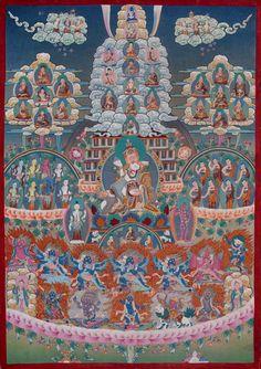 Thangka Lineage . Thangka CH1: Guru Rinpoche Refuge- Lineage Tree /  Linienbaum (Refuge Tree) des Padmasambhava  . Buddhistische Thangkas, Statuen und Mandalas. Marvelous buddhist Statues, Mandala and Thangka from Snow Lion