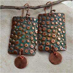 Embossed Rustic Copper Earrings by Sun Stones, $12.95