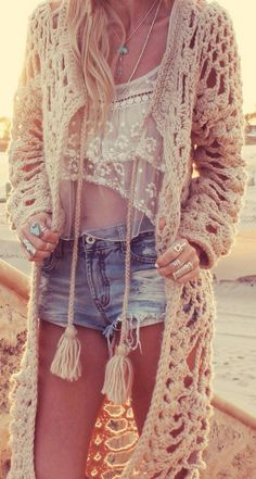 Thick crochet sweater with boho chic top. FOLLOW > https://www.pinterest.com/happygolicky/the-best-boho-chic-fashion-bohemian-jewelry-gypsy-/ NOW for the BEST Bohemian fashion &  carefree lifestyle trends.