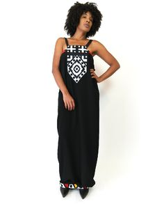Ankara Trim dress with leather straps and split in the back. More info on website #ShopAyo