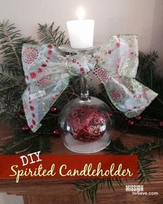 See how to make this DIY Christmas Gift Idea : Spirited Candleholder.  Makes for a sweet (and frugal) addition to your holiday decor.