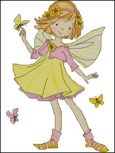 0 petite fée et papillons jaunes - little fairy and yellow butterflies