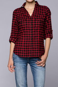 Petra's Red Plaid Top