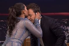 Warm welcome: Mel kissed host Jimmy Fallon on the forehead