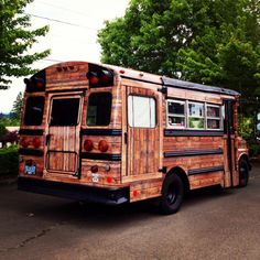 Bus conversion, wood panel RV, glamping, vinyl bus wrap, tiny home, wooden motorhome, rolling cabin, http://www.freerangequest.com