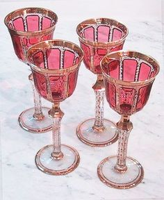 Moser :: Pink and Gold Crystal Stemware.  No, I didn't make these.  We have a set.  From somewhere in Eastern Europe, 40 years ago...: