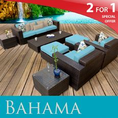 New Bahama Outdoor Set Wicker Patio Sofa Furniture Tropical Blue Free Shipping | eBay