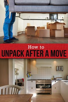 Learn how to unpack after a move in just six steps with these expert tips from home organizers and decluttering specialists. Moving Home, Moving Day, Moving Tips, Unpacking After Moving, Unpacking Tips, Life Organization, Organizing Ideas, Tidy Room, Like A Pro