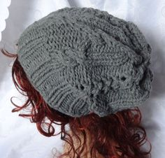 Handmade Knit Cable Hat Beanie Slouchy Hat Beanie Large for Men / Women GRAY Baggy cabled Slouchy hat Warm hat. $28.00, via Etsy.