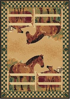Kentucky Ranch Horse Rug Features: a mirror image of horses on the ranch by the wood fence, barn in the background with a deep hunter green check border with horseshoe icons adding to the western theme any cowboy or cowgirl would love coming home too! Our western rugs are the perfect centerpiece for your rustic decor at a perfect price point!